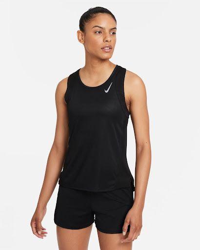 Sprzęt Nike dla biegaczy - czarna koszulka Nike bez rękawów do biegania